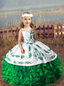 Trendy Sleeveless Organza Floor Length Lace Up Pageant Gowns in Green with Embroidery and Ruffles