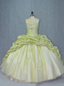 Spectacular Yellow Green Sleeveless Organza and Tulle Brush Train Lace Up Sweet 16 Dresses for Sweet 16 and Quinceanera
