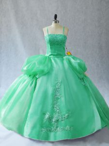 Charming Sleeveless Organza Floor Length Lace Up 15 Quinceanera Dress in Green with Appliques