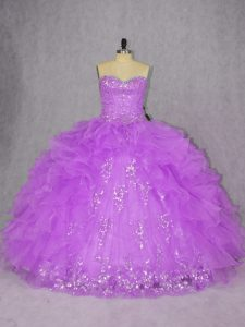 Purple Sweetheart Neckline Appliques and Ruffles Vestidos de Quinceanera Sleeveless Lace Up