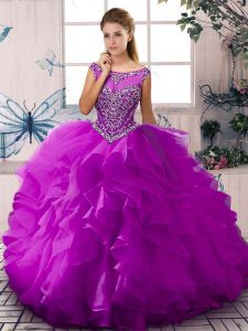 Luxury Sleeveless Floor Length Beading and Ruffles Zipper Quinceanera Dress with Purple