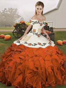Customized Off The Shoulder Sleeveless Quinceanera Dresses Floor Length Embroidery and Ruffles Rust Red Organza