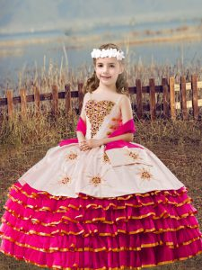 Elegant Fuchsia Organza Lace Up Kids Pageant Dress Sleeveless Floor Length Beading and Embroidery and Ruffled Layers