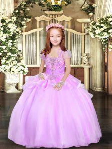 Custom Made Sleeveless Floor Length Beading Lace Up Winning Pageant Gowns with Lilac