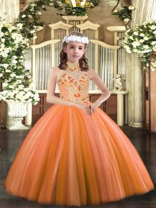 Orange Ball Gowns Tulle Halter Top Sleeveless Appliques Floor Length Lace Up Kids Formal Wear