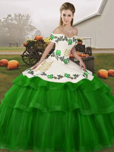 Green Sweet 16 Dresses Off The Shoulder Sleeveless Brush Train Lace Up