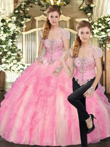 Baby Pink Sleeveless Tulle Lace Up Ball Gown Prom Dress for Sweet 16 and Quinceanera