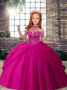 Tulle Scoop Sleeveless Lace Up Beading Little Girls Pageant Dress in Fuchsia