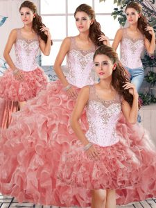 Fancy Organza Sleeveless Floor Length Sweet 16 Dresses and Beading and Ruffles