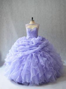 High Class Brush Train Ball Gowns Quinceanera Dresses Lavender Scoop Organza Sleeveless Lace Up