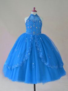 Fancy Blue Ball Gowns High-neck Sleeveless Tulle Floor Length Lace Up Beading and Appliques Child Pageant Dress