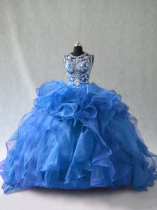 Blue Ball Gowns Organza Scoop Sleeveless Beading and Ruffles Floor Length Lace Up Quinceanera Dresses