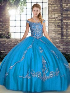 Artistic Tulle Off The Shoulder Sleeveless Lace Up Beading and Embroidery Sweet 16 Dresses in Blue