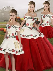 Wonderful White And Red Organza Lace Up 15 Quinceanera Dress Sleeveless Floor Length Embroidery