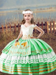 Green Off The Shoulder Lace Up Embroidery Kids Formal Wear Sleeveless