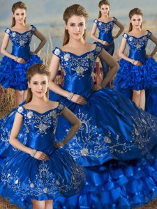 Custom Fit Ball Gowns 15 Quinceanera Dress Royal Blue Off The Shoulder Satin Sleeveless Floor Length Lace Up