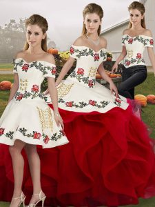 White And Red Sleeveless Embroidery and Ruffles Floor Length Quince Ball Gowns