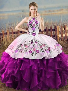 Traditional White And Purple Lace Up Sweet 16 Dresses Embroidery and Ruffles Sleeveless Floor Length