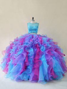 Floor Length Multi-color Sweet 16 Quinceanera Dress Organza Sleeveless Beading and Ruffles