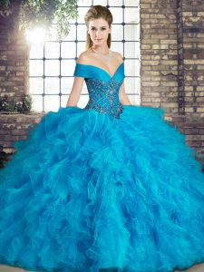 Vintage Blue Lace Up Off The Shoulder Beading and Ruffles Quinceanera Dresses Tulle Sleeveless