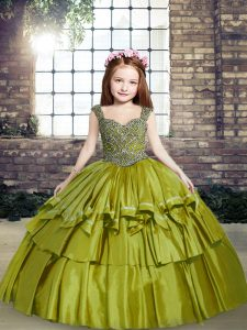 Olive Green Ball Gowns Taffeta Straps Sleeveless Beading Floor Length Lace Up Little Girl Pageant Dress