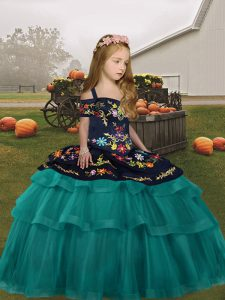 Sleeveless Floor Length Embroidery and Ruffled Layers Lace Up Little Girls Pageant Dress Wholesale with Teal