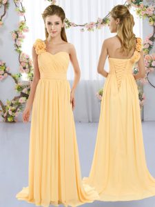 Dramatic One Shoulder Sleeveless Chiffon Court Dresses for Sweet 16 Hand Made Flower Brush Train Lace Up