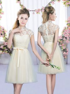 New Arrival Empire Dama Dress for Quinceanera Champagne High-neck Tulle Cap Sleeves Mini Length Lace Up