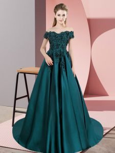Excellent Teal Ball Gowns Off The Shoulder Sleeveless Satin Floor Length Court Train Zipper Lace Quinceanera Dresses