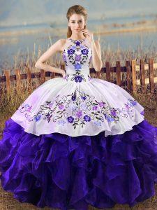 Fashion White And Purple Sleeveless Embroidery and Ruffles Floor Length Sweet 16 Dresses