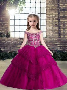 Latest Floor Length Lace Up Little Girl Pageant Gowns Fuchsia for Party and Wedding Party with Beading and Lace and Appliques
