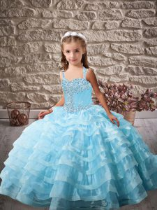 Elegant Organza Sleeveless Pageant Dress and Beading and Ruffled Layers