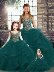High Class Peacock Green Lace Up Quinceanera Dresses Beading and Ruffles Sleeveless Floor Length