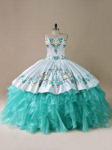 Floor Length Blue And White Quinceanera Gowns Organza Sleeveless Embroidery and Ruffles