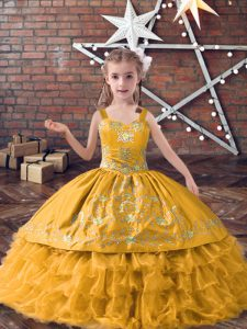 Straps Sleeveless Lace Up Pageant Gowns For Girls Gold Satin and Organza