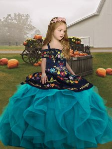 Excellent Straps Sleeveless Kids Pageant Dress Floor Length Embroidery and Ruffles Teal Tulle