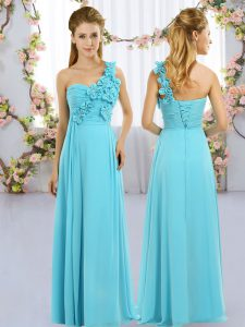 Fitting Aqua Blue One Shoulder Lace Up Hand Made Flower Damas Dress Sleeveless
