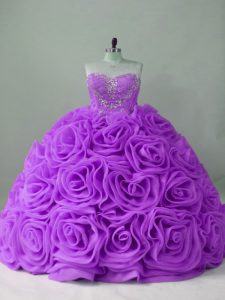 Top Selling Lavender Sleeveless Fabric With Rolling Flowers Brush Train Lace Up Sweet 16 Quinceanera Dress for Sweet 16 and Quinceanera