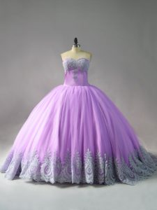 Free and Easy Lilac Ball Gowns Tulle Sweetheart Sleeveless Appliques Lace Up Quinceanera Gowns Court Train
