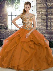 Customized Sleeveless Beading and Ruffles Lace Up Sweet 16 Dress with Orange Brush Train