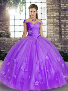 Lavender Off The Shoulder Lace Up Beading and Appliques 15 Quinceanera Dress Sleeveless