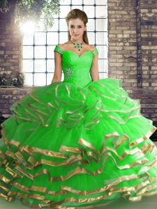Shining Off The Shoulder Sleeveless Lace Up Vestidos de Quinceanera Green Tulle