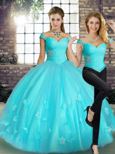 High Quality Aqua Blue Sleeveless Floor Length Beading and Appliques Lace Up Quinceanera Gowns
