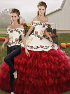 Top Selling Off The Shoulder Sleeveless Organza Sweet 16 Dresses Embroidery and Ruffled Layers Lace Up