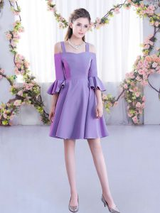 Chiffon Off The Shoulder Half Sleeves Zipper Ruching Quinceanera Court of Honor Dress in Lavender