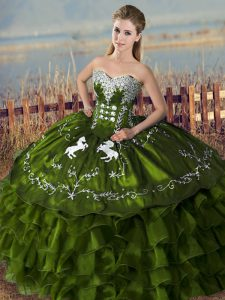 Noble Olive Green Ball Gowns Sweetheart Sleeveless Satin Floor Length Lace Up Embroidery and Ruffles Quinceanera Dresses