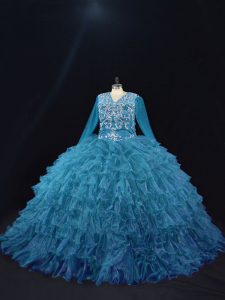 Free and Easy Beading and Ruffled Layers Ball Gown Prom Dress Teal Lace Up Long Sleeves Floor Length