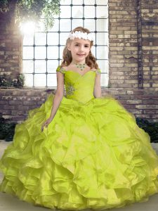 Yellow Green Sleeveless Beading and Ruffles and Ruching Floor Length Pageant Dress Womens