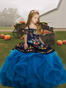 Blue Ball Gowns Tulle Straps Sleeveless Embroidery and Ruffles Floor Length Lace Up Little Girl Pageant Dress