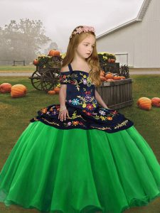 High Low Green Kids Formal Wear Straps Sleeveless Lace Up